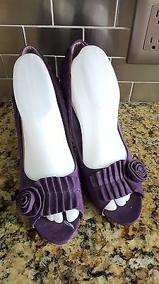 Cato Purple Faux Suede Flower Open Toe Pumps Women's Size 10M