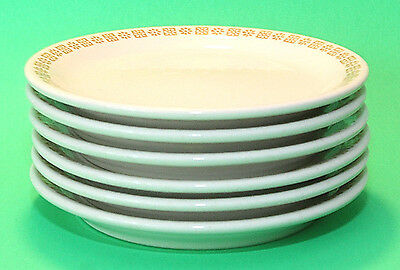 "Shenango China Salad/Dessert Plates, Set of 6, 7"", EUC, Gold Daisy, Vintage 1970"