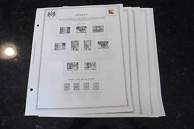 A68 Lot of Bhutan Stamps hinged on 23 Minkus pages 1954-1973