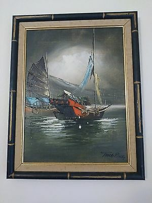 Tang Ping boat landscape oil painting