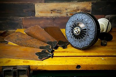Antique Cast Iron WESTINGHOUSE Electric Ceiling Fan 1911 Brass Badge Wood Blade