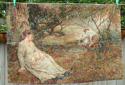 Antique Vintage French Tapestery Wall Hanging Mother & Baby Large 95cm