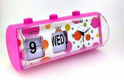 Kids Ladies Date Day Alarm Candy Color Pink Table Clock For Girls & Ladies