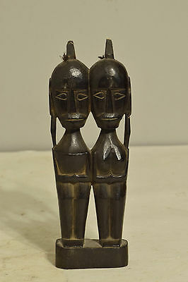 Statue Timor Statue Double Figure Ancestor Black Indonesia Wood Statue