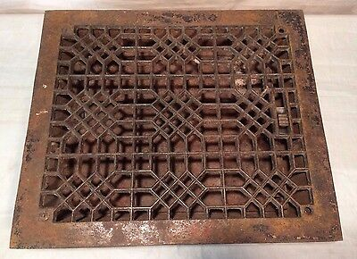 Vtg 1885 TUTTLE & BAILEY Cast Iron Wall Floor Vent Register Grate  12x10 W/Vents
