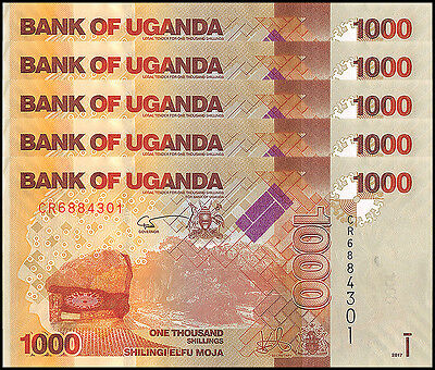 Uganda 1,000 (1000) Shillings X 5 Pieces (PCS), 2017, P-NEW, UNC