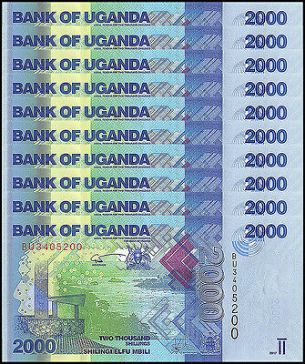 Uganda 2,000 - 2000 Shillings X 10 Pieces - PCS, 2017, P-50d, UNC