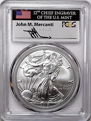 2017 W $1 Burnished Silver Eagle PCGS SP70 First Strike Mercanti 1 of 500
