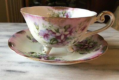 Royal Sealy 3 Footed Beautiful Tea Cup & Saucer Violets & Gilding Japan