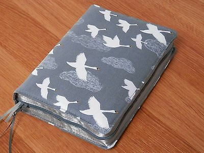New World Translation 2013 Zipped Fabric Bible Cover - Swans on Grey
