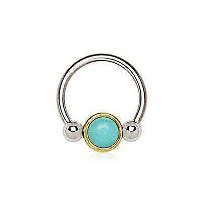 Turquoise Statement Ring 316L Stainless Steel Cabochon Bezel Set 18x24mm Sz 5-10