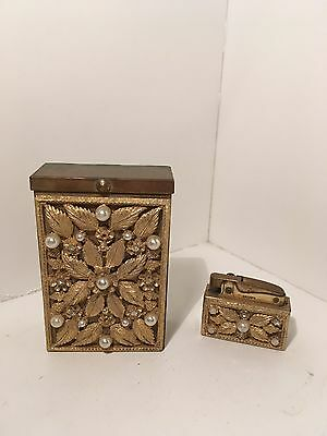 Vintage Collectible Crown Brass Cigarette Case and Lighter Set w/ Stones 2 Piece