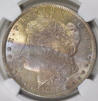 1885-O Morgan Silver Dollar NGC MS-64 CAC Multi Color Toned