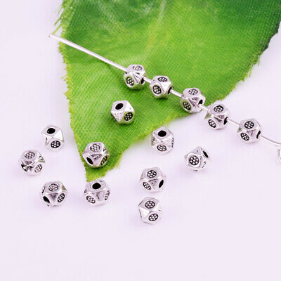 Wholesale Metal Small Faceted Spacer Beads Tibetan Silver Jewelry Findings 3mm