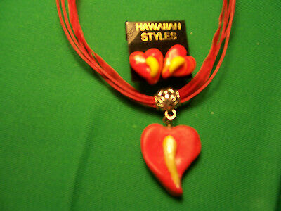 Red Anthurium Necklace/ Earring Set