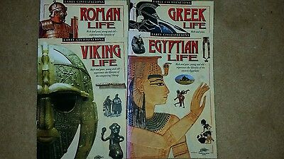 Four Life In Early Civilizations Books - Roman/viking/greek/egyptian - Very Good