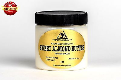 SWEET ALMOND BUTTER ORGANIC by H&B Oils Center COLD PRESSED 100% PURE 4 OZ