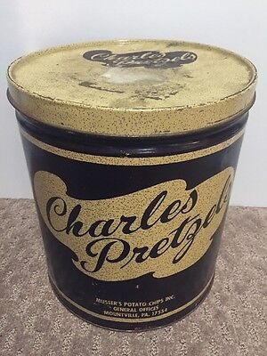Vintage Charles Pretzels Old Antique Tin Can Metal Mountville PA Mussers Chips