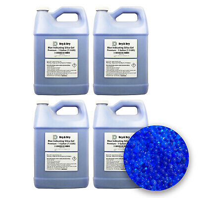 "4 Gallon(30 LBS) ""Dry & Dry"" Premium Blue Indicating Silica Gel Desiccant Beads"