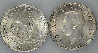 1952 South African 5 Shillings & 1963 South Africa 50 cent