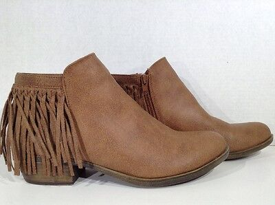 SUGAR Teeny Women's Size 9 Brown Zipper Fringed Ankle Boots Shoes X4-652