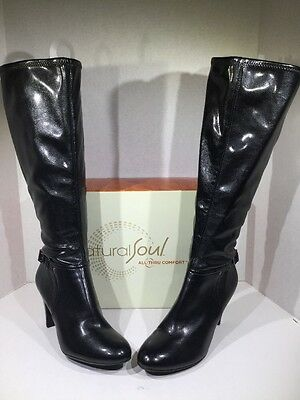 NATURALIZER Women's Sz 8.5 Britta Black Leather Knee High Boots Shoes X4-1597