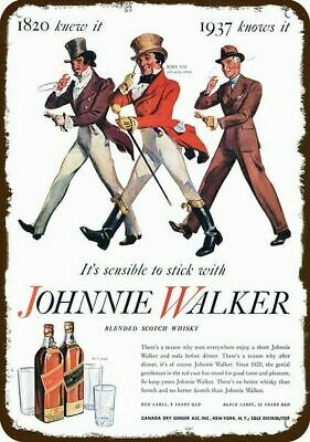 1937 JOHNNIE WALKER Scotch Whisky Vintage-Look REPLICA METAL SIGN - 1820 to 1937