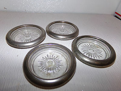 Vintage Sivertone Crystal Lot Of 4 Coasters - Made In Italy