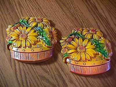 2 Vintage 1968 Miller Studio Wall Plaques Chalk Chalkware Sunflowers