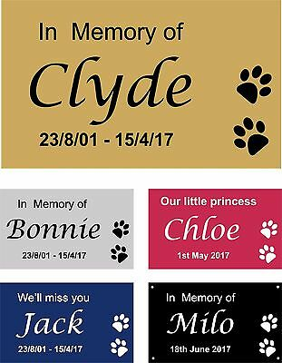 Personalised Pet Memorial Plaque Dog Cat Animal Engraved 9.5 x 6 cm Your wording