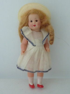 """Vintage Italian Italy CELLULOID Girl DOLL in original clothes 5-3/4"""" Strung"""
