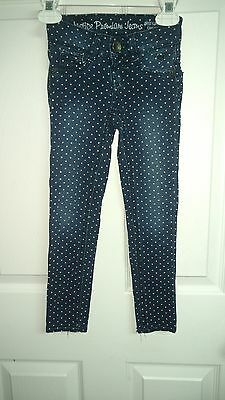 Justice Premium Jeans Girls Size 6S Slim fit Polka Dot Blue  Stretchy Pants