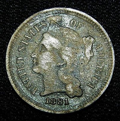 1881 UNITED STATES Nickel 3-cent piece LOOK