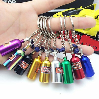 NOS Turbo Nitrogen Bottle Metal Keyfob Keychain Key Ring Holder Car Pendant