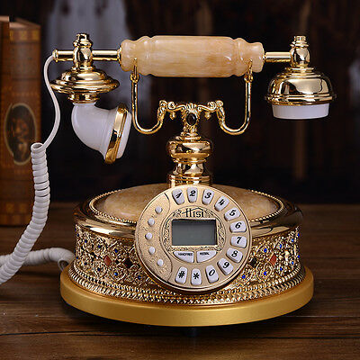 Metal stone Luxury European place Antique Vintage palace corded telephone F044