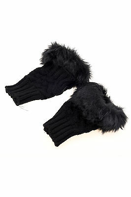 JK Lady Girl Shaggy Faux Fur Knit Fluffy Hands/LEG Warmers Ankle Boot Covers Glo
