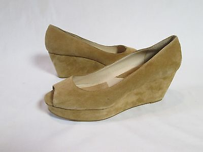 Michael Kors Women's Heels Shoes Brown Suede Leather Wedge Open Toe Size 9.5 M