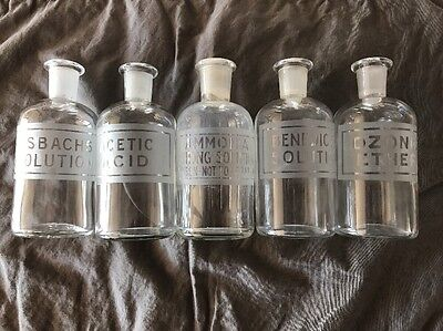Vintage Drug Store Apothecary Glass Etched Bottles