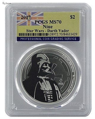 2017 Niue DARTH VADER $2. One Oz .999 Silver Coin : PCGS MS-70 : Niue Flag Label