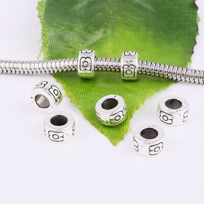 30pcs Tibetan Silver Large Hole Charm Beads Fit Bracelet Jewelry Findings 6x4mm