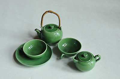 Antique Child's Green Glazed Earthenware Pottery MAJOLICA Toy Tea Set  ENGLISH ?