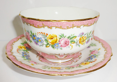 Crown Staffordshire Fine Bone China Cup And Saucer Pink Floral Gold Trim