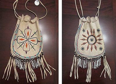 "Antique Native American Beaded Bag (possibly Apache ?) Large 14"" piece"