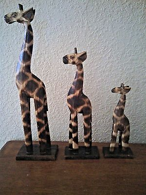 Handcarved And Painted Wooden Giraffe Set
