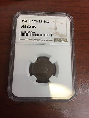 Chile 1942 50 Centavo Ngc MS62 Km 178 1 Year Type