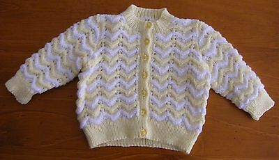 Baby Jacket: Hand Knitted - Lemon/white - 3 Months