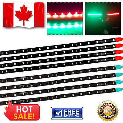 4 Pairs Submersible Marine Boat Bow Navigation Light LED Strips 12V Red + Green