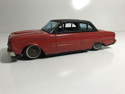 Vintage 1962 Japanese Tin Friction Bandai Ford Falcon Two Tone Red & Black Roof