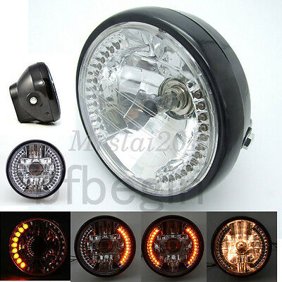 "7"" Motorcycle 12V H4 Headlight Bulb Turn Signal HeadLight Projector For Harley"