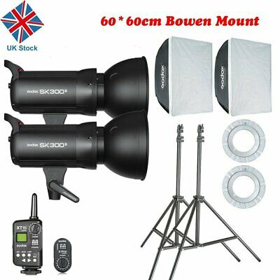 UK Godox 600w 2x SK300II Studio Strobe Flash Light+ Softbox+ Trigger F Wedding
